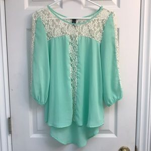 Windsor mint green lace blouse